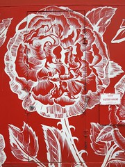 Rose door (Ruth and Dave) Tags: door red white sign rose vancouver painting big cafe mural parking entrance delivery service fairview dwwg beaucoupbakery