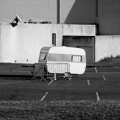 Rouillac France 2011 (Delay Tactics) Tags: park bw white black france car square caravan 27 rouillac vingtsept