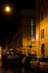 Trattoria Pizzeria (Toni Kaarttinen) Tags: city italien italy rome roma rain sign night dark neon italia roman nighttime rainy pizzeria rom italie lazio romo trattoria italio