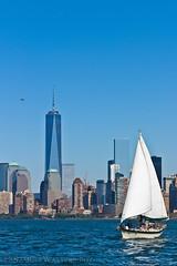 Sailboat and Chopper (SamuelWalters74) Tags: newyorkcity newyork unitedstates manhattan worldtradecenter financialdistrict worldfinancialcenter nycskyline newyorkharbor 7worldtradecenter freedomtower 1worldtradecenter 1wtc brookfieldplace oneworldtradecenter 4worldtradecenter