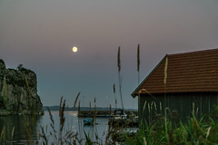"""""""Summer night at the harbor"""" (Terje Helberg Photography) Tags: sky sea water boat night harbour summer moon boats harbor boathouse coastal lunar breakwater photography nightscape"""