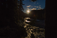 By the light of the moon (Patstirling) Tags: canada alberta clearwater county river falls water rock outcrop ledge canyon stream creek sky clouds trees yellow green grey brown black conifers leaves landscape canon6d canon1635mmf4l wife trip travel world explore offroad backcountry fall foothills mountains depth outdoor bighorn autumn crescent deep chasm mountain mountainside waterfall erosion ledges formations flow moon moonlight rapids reflection night darkness silhouette