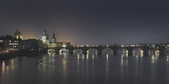 Karlv Night (Vesa Pihanurmi) Tags: charlesbridge bridge prague praha tower spires cityscape vltava river longexposure karlvmost night skyline