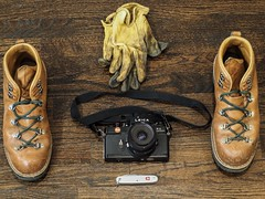 Weekend Wandering Essentials (brianbrownlee) Tags: edc 35mm film analog leather staged light swissarmy danner stilllife fashion fall leica cameraporn