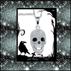 White Gold Skull Necklace (SilverMoonBay) Tags: halloween halloweenjewelry skull skeleton skullnecklace jewelrygifts discountjewelry jewelryforless sparkle shimmer shine spooky scary boo