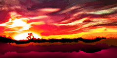 Desert Sunset (chazart7777) Tags: sunset gimp gimpuser photoediting photomanipulation imagemanipulation photopainting colorful desert