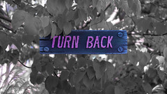 Turn back (PJMixer) Tags: 52weekproject fuji halloween minimalism neighbourhood sign trees