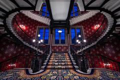 Memento (Otto Berkeley) Tags: london england uk britain urban city architecture building hotel stpancrasrenaissancehotel staircase steps stairs red symmetry symmetrical fairytale manhattanloft gothic ornate empty alone climb upwards