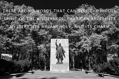 Protect our National Parks (Beau Finley) Tags: nationalparkservice beaufinley theodoreroosevelt rooseveltisland monochrome blackandwhite quote quotation statue fall autumn