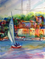 city bliss (polusladkaia) Tags: originalart paintings copyright2016bvfbetker seattle cityscapes waterview pacificnorthwest watercolor