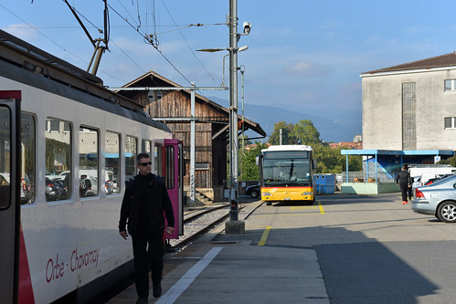 Travys depot at Orbe with the Postbus meeting the train