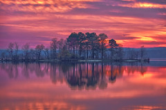 Colorful Island (shanahanphotography) Tags: autumn landscape pinkminutes nature northcarolina goldenhour beauty lake durham orange clouds sunset trees blue bluehour water beautiful raleigh pink magichour nc fall longexposure chapelhill yellow firstinflight jordanlake