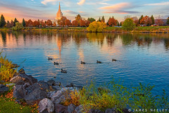 Greenbelt Sunset (James Neeley) Tags: idahofallstemple ldstemple mormontemple snakeriver idahofalls autumn jamesneeley