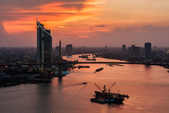 The Last Light (Weerakarn) Tags: city sunset sky cloud beautiful river landscape thailand evening twilight warm cityscape bangkok chaophraya kbank ramaixbridge   weerakarn