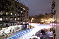 New York Streets. (Sam Revel) Tags: newyorkcity longexposure nightphotography light newyork cars timelapse nikon long exposure trails citystreets avenuea tompkinssquarepark newyorkatnight d90 avenueanewyork lighttrailsnewyork newyorklongexposure samrevel yoursamrevel nightphotographynewyork samrevelnewyork avenueanight tompkinsquareparknight