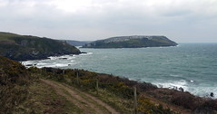 Onward to Fowey (Worthing Wanderer) Tags: grey coast spring cornwall cloudy path windy cliffs april dull polkerris southwestcoastpath
