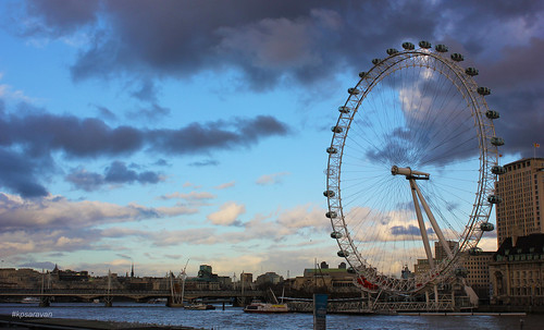 London eye dark clouds