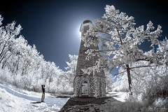 Discovering the Light (Don Komarechka) Tags: lighthouse toronto point landscape ir surreal fisheye photowalk infrared selfy gibraltarpointlighthouse