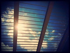 Sunshine Breakout (Jean5178) Tags: blue sun sunshine clouds airport spain stripes rail palma iphone kitcam uploaded:by=flickrmobile flickriosapp:filter=nofilter