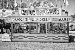 DSCF6828 (RHMImages) Tags: blackandwhite bw sign fuji fair fujifilm countyfair candyland snokones contracostacounty x100s