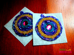 Purple and Yellow Beaded Earrings (Miss  ) Tags: traditional earrings beaded