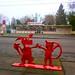 Dancing Dog and Cat Red Metal Bike Rack
