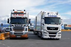 Scania R560 - C.P. Sand and MAN - Linjefrakt (prahatravel) Tags: man norway port truck harbor pier sand harbour c terminal cargo transportation p trondheim freight scania r560 linjefrakt