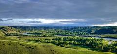Old Man River Panorama SP (H.B. Mejia) Tags: summer sunrise spectacular landscape sunny alberta stunning lethbridge rivervalley oldmanriver summerweather albertafloods summerclouds southernalberta stunningphotography summersunrise spectacularphotography