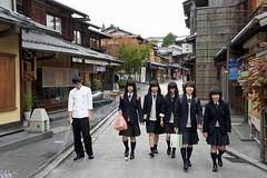 Kyoto schoolgirls (Tiigra) Tags: 2012 japan architecture city dress people portrait road kyoto kyotoprefecture
