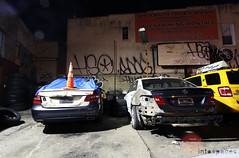 (Into Space!) Tags: new york city newyorkcity urban newyork cars smart brooklyn night graffiti mercedes photo tag hound tags hueso destroyed bombing goog handstyle zno hso intospace intospaces