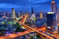 Building X-Cross in Bangkok (noomplayboy) Tags: city longexposure reflection building night river thailand town twilight cityscape village nightshot d bangkok bluesky thai expressway viewpoint hdr chaophrayariver builtstructure noomplayboy plusgooglecomu0104736743032250724923posts