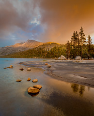 Tenaya Lake, Snowstorm Clearing, Sunset (andertho) Tags: california park sunset mountain lake reflection cool nps dusk national yosemite uncool d800 tenaya cool2 cool3 cool4 uncool2 uncool3 uncool4 uncool5 uncool6 uncool7