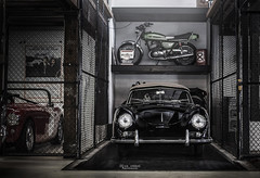 Tucked away. (God_speed) Tags: wood light black classic cars sports car bike vintage dark early beige top convertible 1954 front storage retro indoors motorbike chrome porsche 1950s moto motorcycle restoration 50s cabrio rare resto cabriolet 356 prea