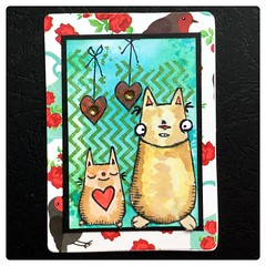 ATC Chevron kitties (Stampinkie) Tags: cats atc rubberstamping distressink stampotique artisstradingcard