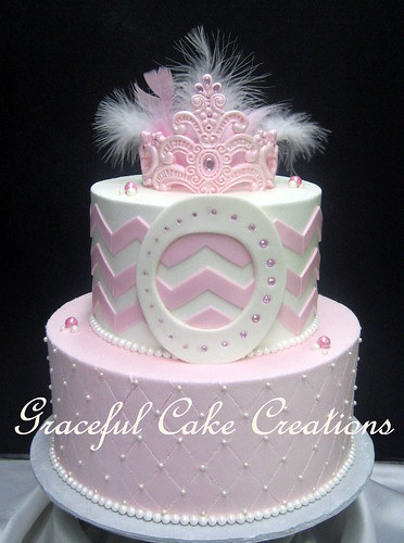 Terrific Pink And White 1St Birthday Cake With A Chevron Pattern Monogram Funny Birthday Cards Online Benoljebrpdamsfinfo