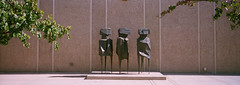 Wise dudes (my_elbow) Tags: hasselblad xpan portra 400 san diego balboa park sculpture brass panoramic usa california