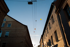 Playing with notes (modestmoze) Tags: notes playing flying lithuania vilnius city architecture walls 2016 500px autumn september sky clouds shadows outside outdoors windows electricity metal balloons hotairballoon lines moving colorful red black brown yellow blue white old