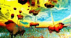 The farm (Bamboo Barnes - Artist.Com) Tags: sheep cloud landscape secondlife virtualart digitalart vivid awesome surreal red green yellow blue bright bamboobarnes lea