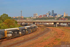 """Westbound Manifest in Kansas City, KS (""""Righteous"""" Grant G.) Tags: ns norfolk southern railway railroad locomotive train trains west westbound up union pacific kansas city manifest freight emd ge"""