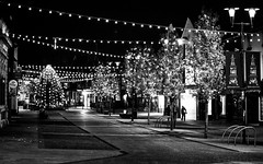 2016_331 (Chilanga Cement) Tags: nikon nik nikondf night lightroom lights christmas ormskirk town christmastree advent bw blackandwhite monochrome street trees tree
