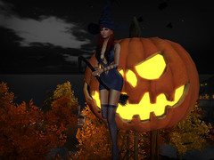 A Night In The Sky (StarryPoo) Tags: secondlife sl avatar halloween photography pumpkins jackolantern witch