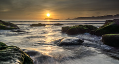 Stream waves (canon-Tom) Tags: sea seascape waves nature travel landscape water sky clouds rocks rock coast beach sun sunlight sunrise sunset moss exposure long