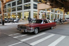 Elusive Catch (Flint Foto Factory) Tags: chicago illinois urban city autumn fall november 2016 downtown loop monroe wells intersection 1976 cadillac coupe deville red 2door white landau vinyl top moving motion inmotion classic american luxury car morning rushhour traffic dayof game7 worldseries baseball chicagocubs elusive catch icm intentionalcameramovement worldcars