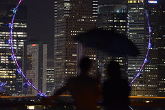 couple at Marina Barrage 2 (gabrielteophotography) Tags: singapore flyer marina barrage couple silhouette night umbrella