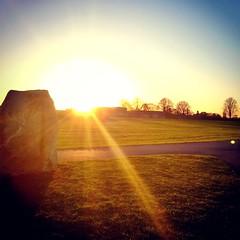 Crisp, cold sunsets. (Sharon - Monsoon Arts) Tags: sun sunset shimmer sky boulder nature golden