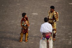Dancers in Ecuador (nearsjasmine) Tags: virginmary ecuador ecuadortraditionaldancers outoffocus ecuadorpeople colorfuloutfits outfitsofsouthamerica southamerica dancers traditional