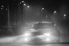 Foggy winter nights (MSC_Photography) Tags: bmw 116i f20 f21 1 series hatch sport m power first car white front lichter scheinwerfer lights alpinweis performance top streifen stripes winter fog foggy nebel nacht night nikon d200 135mm f28 ais 28 mf black bw