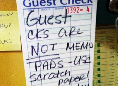 Guest cks are NOT memo pads. Use scratch paper!