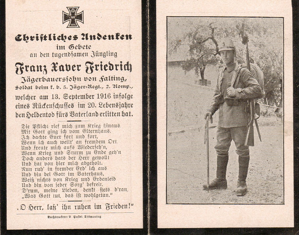 A heros death at twenty wooway1 tags friedrich deathcard sterbebild totenzettel falting sterbebilt