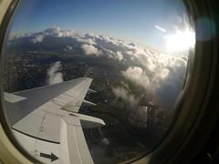 plane (blklablucy) Tags: above city light sky sun up clouds plane flying air flight wing sanjose fisheye club16 cloudsstormssunsetssunrises